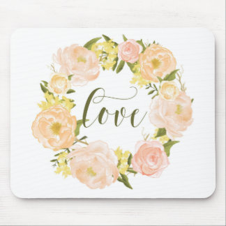 Pastel Orange Peonies Wreath | Love Lettering Mouse Pad