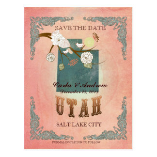 Pastel Orange Save The Date -Map With Lovely Birds Postcard
