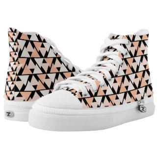 Pastel Orange Triangle Pattern High Top Sneakers
