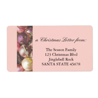Pastel Ornaments Christmas Letter Shipping Label