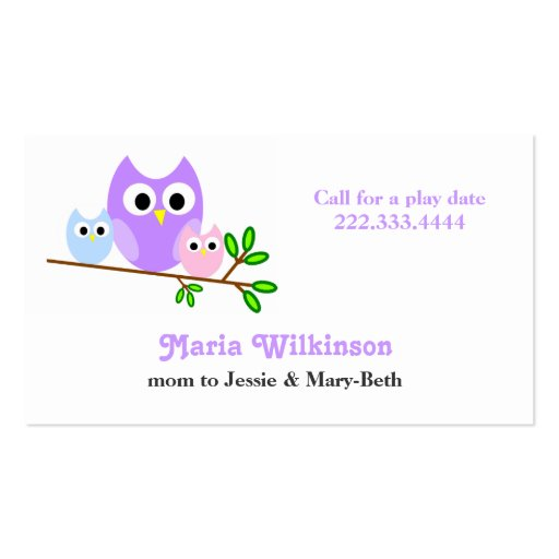 Pastel Owls Mommy Card Business Card