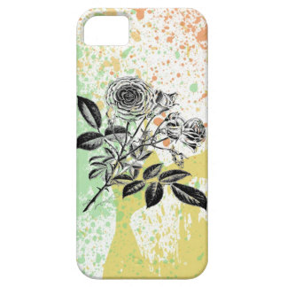 Pastel paint splatter roses baroque floral print iPhone 5 cover