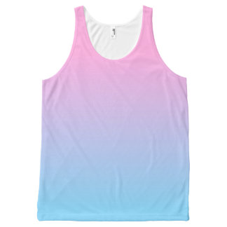 Pastel Pale Pink and Blue Gradient All-Over Print Tank Top