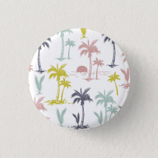 Pastel Palm Tree by the Beach Pattern 3 Cm Round Badge