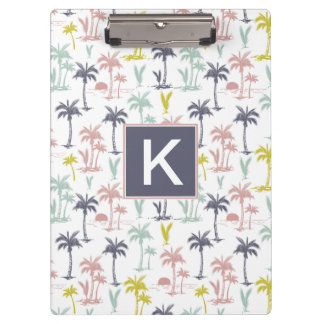 Pastel Palm Tree by the Beach Pattern Clipboard
