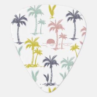 Pastel Palm Tree by the Beach Pattern Guitar Pick