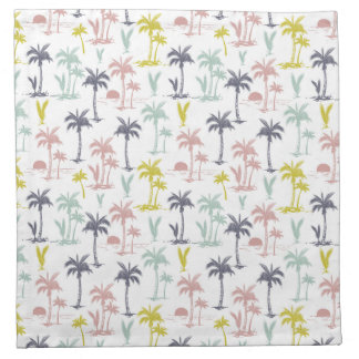 Pastel Palm Tree by the Beach Pattern Napkin