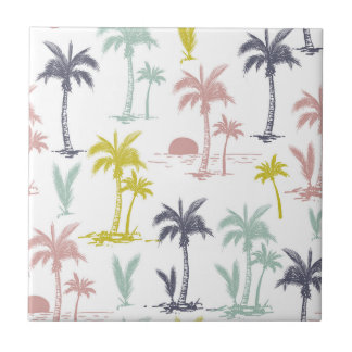 Pastel Palm Tree by the Beach Pattern Tile