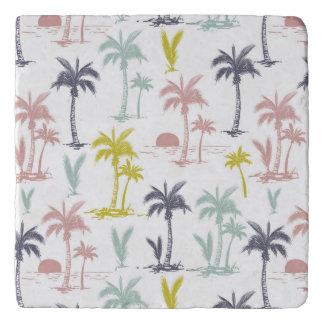 Pastel Palm Tree by the Beach Pattern Trivet