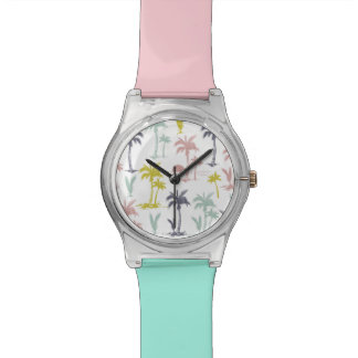 Pastel Palm Tree by the Beach Pattern Watch