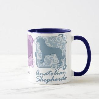 Pastel Peace, Love, and Anatolian Shepherds Mug