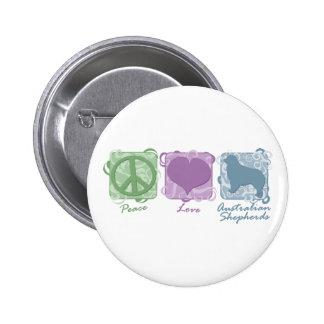 Pastel Peace, Love, and Australian Shepherds 6 Cm Round Badge