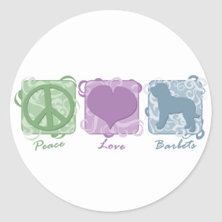 Pastel Peace, Love, and Barbets Classic Round Sticker
