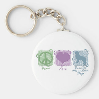 Pastel Peace, Love, and Bernese Mountain Dogs Key Ring