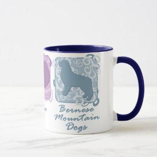 Pastel Peace, Love, and Bernese Mountain Dogs Mug