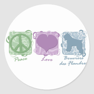 Pastel Peace, Love, and Bouviers des Flandres Classic Round Sticker