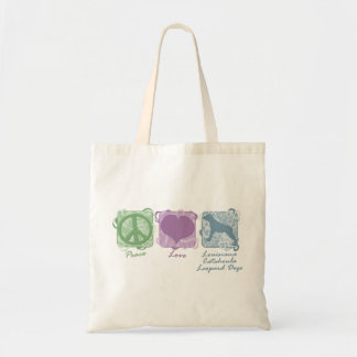 Pastel Peace, Love, and Catahoula Leopard Dogs Tote Bag
