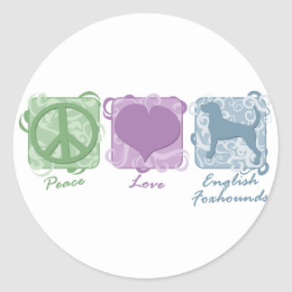 Pastel Peace, Love, and English Foxhounds Round Sticker