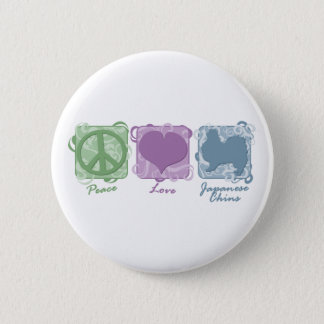 Pastel Peace, Love, and Japanese Chins 6 Cm Round Badge