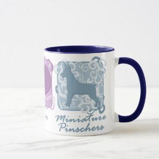 Pastel Peace, Love, and Miniature Pinschers Mug