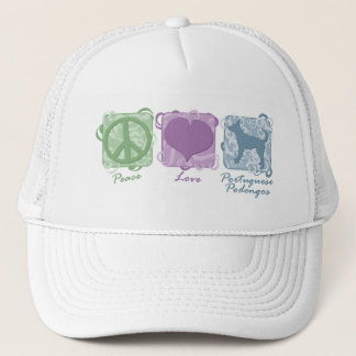 Pastel Peace, Love, and Smooth Portuguese Podengos Trucker Hat