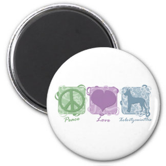Pastel Peace, Love, and Xoloitzcuintlis 6 Cm Round Magnet