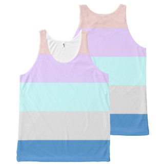 pastel peach purple mint grey blue color block All-Over print singlet