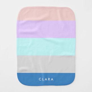 pastel peach purple mint grey blue color block burp cloths