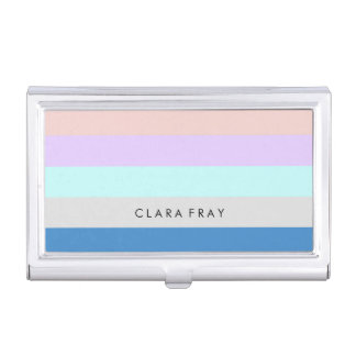pastel peach purple mint grey blue color block business card holder