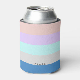 pastel peach purple mint grey blue color block can cooler