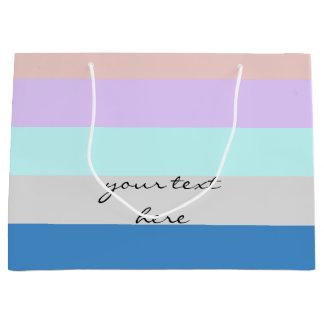 pastel peach purple mint grey blue color block large gift bag