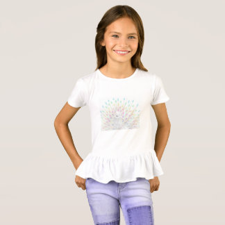 Pastel Peacock Girls Ruffle T T-Shirt