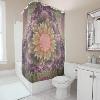 Pastel Pearl Lotus Garden of Fractal Dahlia Flower Shower Curtain