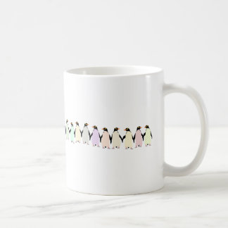 pastel penguins holding hands cup