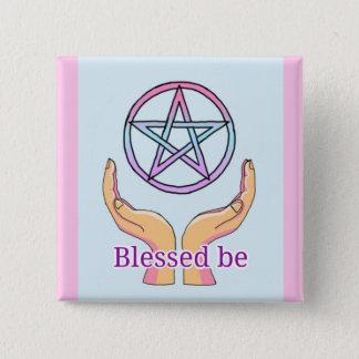 "Pastel Pentacle ""Blessed be"" Pentagram 15 Cm Square Badge"