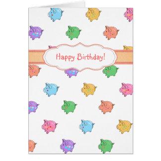 Pastel Pig Pattern Greeting Card
