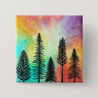 Pastel Pine Tree Galaxy Button, Art Painting Pin