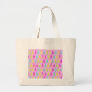 Pastel Pineapples Large Tote Bag