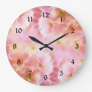 Pastel pink abstract flowers large clock