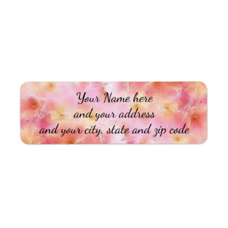 Pastel pink abstract flowers return address label
