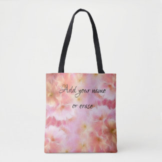 Pastel pink abstract flowers tote bag