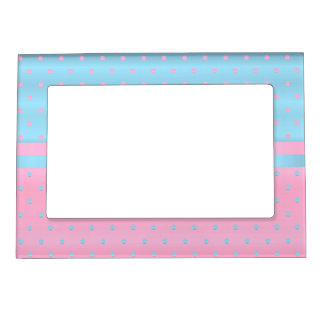 Pastel Pink and Baby Blue Polka Dots Magnetic Frame