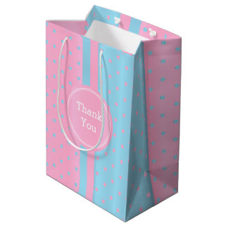 Pastel Pink and Baby Blue Polka Dots -Thank You Medium Gift Bag