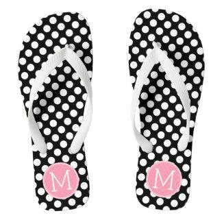 Pastel Pink and Black Polka Dots Custom Monogram Thongs