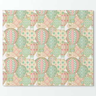 Pastel Pink and Blue Hot Air Balloons Wrapping Paper