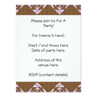 Pastel Pink and Brown. Floral Design. 17 Cm X 22 Cm Invitation Card