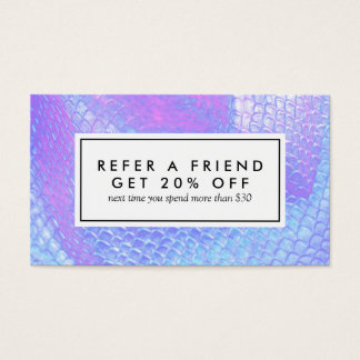 Pastel pink and lilac mermaid scale referral card