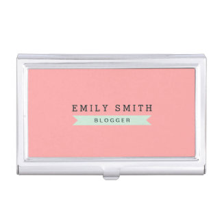 Pastel Pink and Mint Blue Business Card Holder