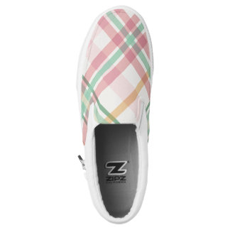 Pastel pink and mint plaid Slip-On shoes