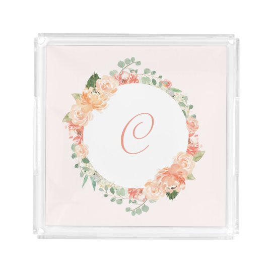 Pastel Pink and Peach Floral Ring with Monogram Acrylic Tray